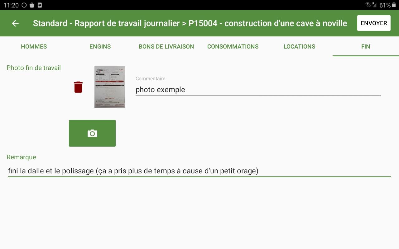 Exemple d'un rapport de chantier via l'application Hit-Form
